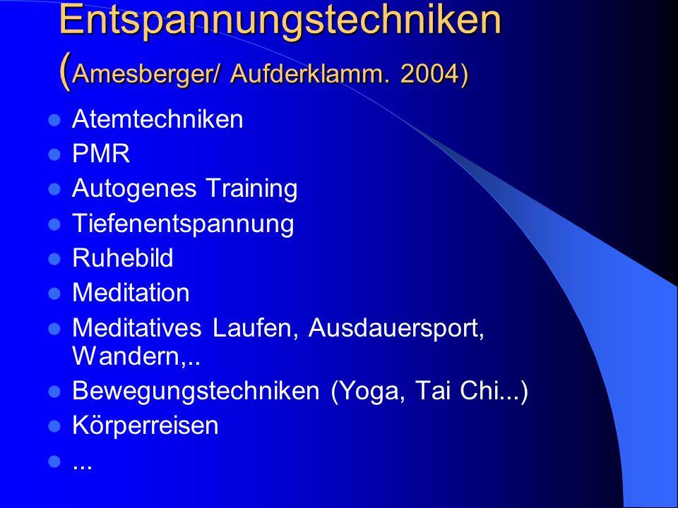 Entspannungstechniken ( Amesberger/ Aufderklamm. 2004) Atemtechniken PMR Autogenes Training Tiefenentspannung Ruhebild Meditation Meditatives Laufen,