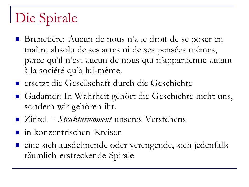 Die Spirale Brunetière: Aucun de nous na le droit de se poser en maître absolu de ses actes ni de ses pensées mêmes, parce quil nest aucun de nous qui