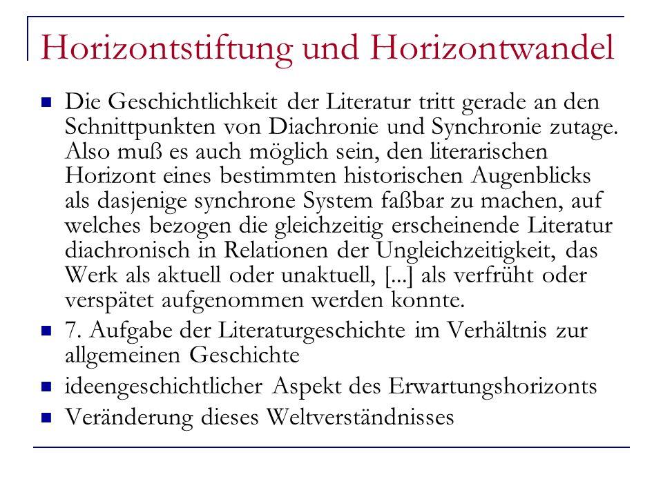 Horizontstiftung und Horizontwandel Die Geschichtlichkeit der Literatur tritt gerade an den Schnittpunkten von Diachronie und Synchronie zutage. Also