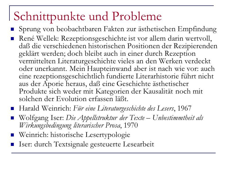 Schnittpunkte und Probleme Sprung von beobachtbaren Fakten zur ästhetischen Empfindung René Wellek: Rezeptionsgeschichte ist vor allem darin wertvoll,