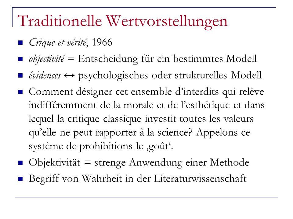 Traditionelle Wertvorstellungen Crique et vérité, 1966 objectivité = Entscheidung für ein bestimmtes Modell évidences psychologisches oder strukturell