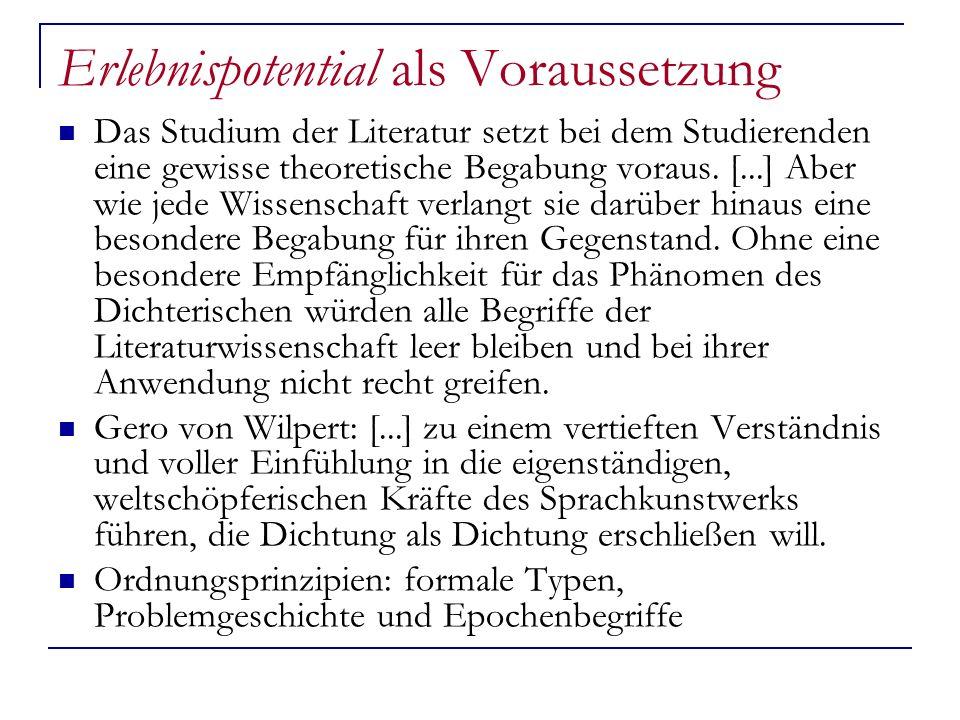 Erlebnispotential als Voraussetzung Das Studium der Literatur setzt bei dem Studierenden eine gewisse theoretische Begabung voraus. [...] Aber wie jed