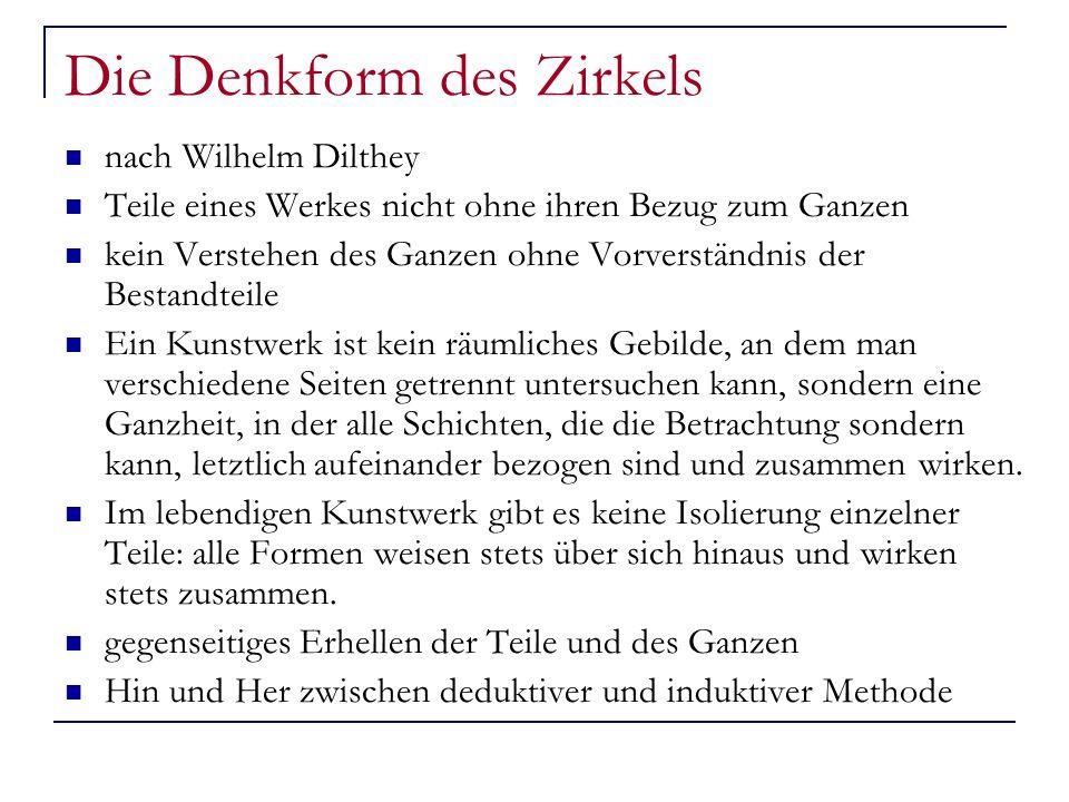 Die Denkform des Zirkels nach Wilhelm Dilthey Teile eines Werkes nicht ohne ihren Bezug zum Ganzen kein Verstehen des Ganzen ohne Vorverständnis der B