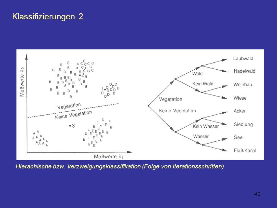 40 Klassifizierungen 2 Hierachische bzw. Verzweigungsklassifikation (Folge von Iterationsschritten)