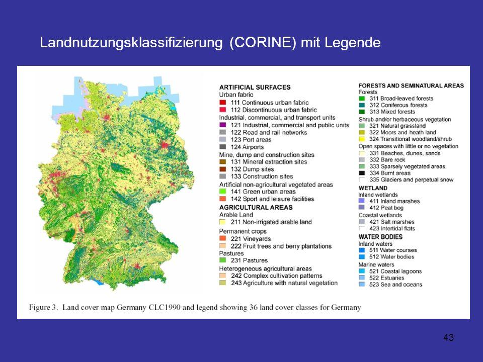 43 Landnutzungsklassifizierung (CORINE) mit Legende