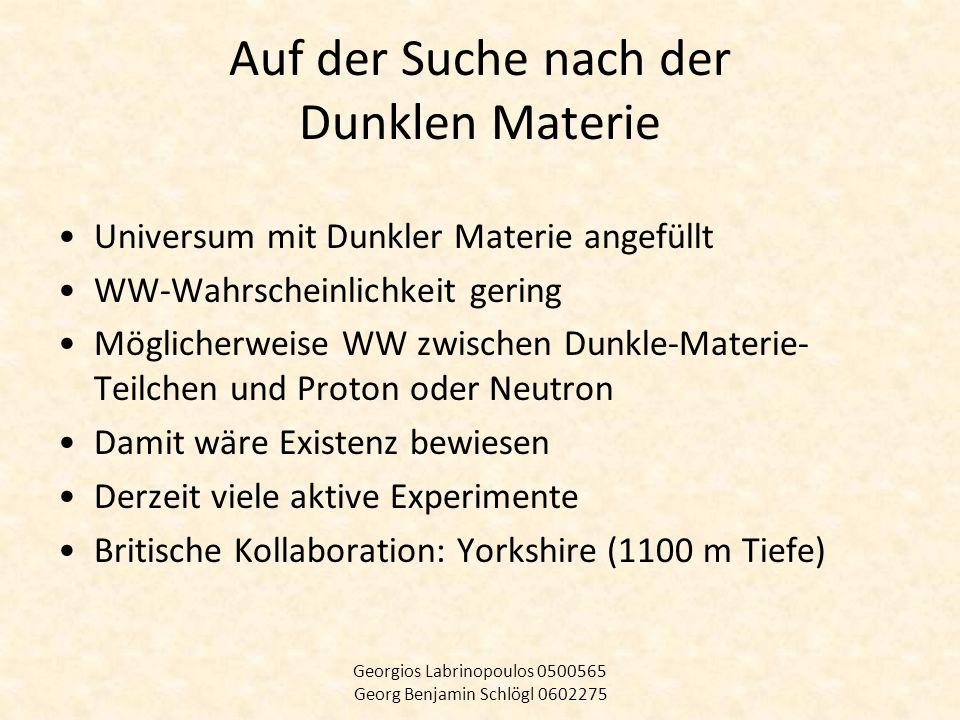 Universum mit Dunkler Materie angefüllt WW-Wahrscheinlichkeit gering Möglicherweise WW zwischen Dunkle-Materie- Teilchen und Proton oder Neutron Damit