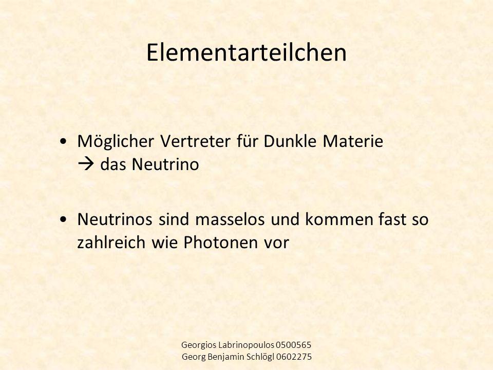 Elementarteilchen Möglicher Vertreter für Dunkle Materie das Neutrino Neutrinos sind masselos und kommen fast so zahlreich wie Photonen vor Georgios L