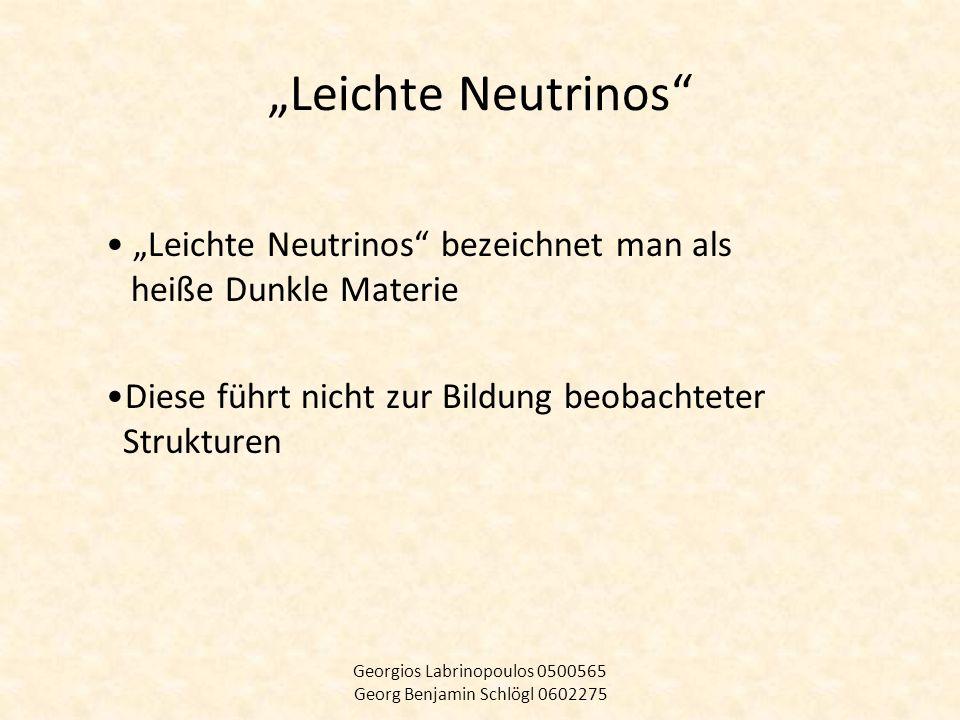 Leichte Neutrinos Leichte Neutrinos bezeichnet man als heiße Dunkle Materie Diese führt nicht zur Bildung beobachteter Strukturen Georgios Labrinopoul
