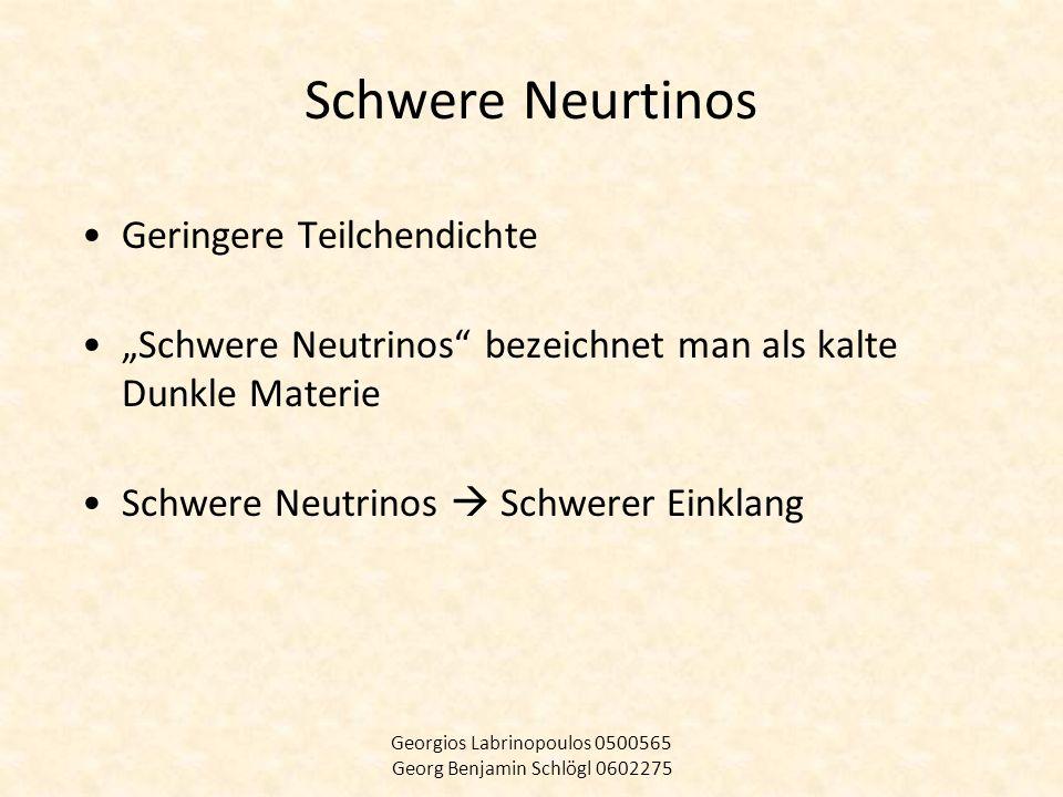 SUSY Supersymmetrie eine der wahrscheinlichsten Ergänzungen des Standardmodells Ein Partner für jeden (LSP) Photino, Gravitino,Neutralino (WIMPs) Georgios Labrinopoulos 0500565 Georg Benjamin Schlögl 0602275