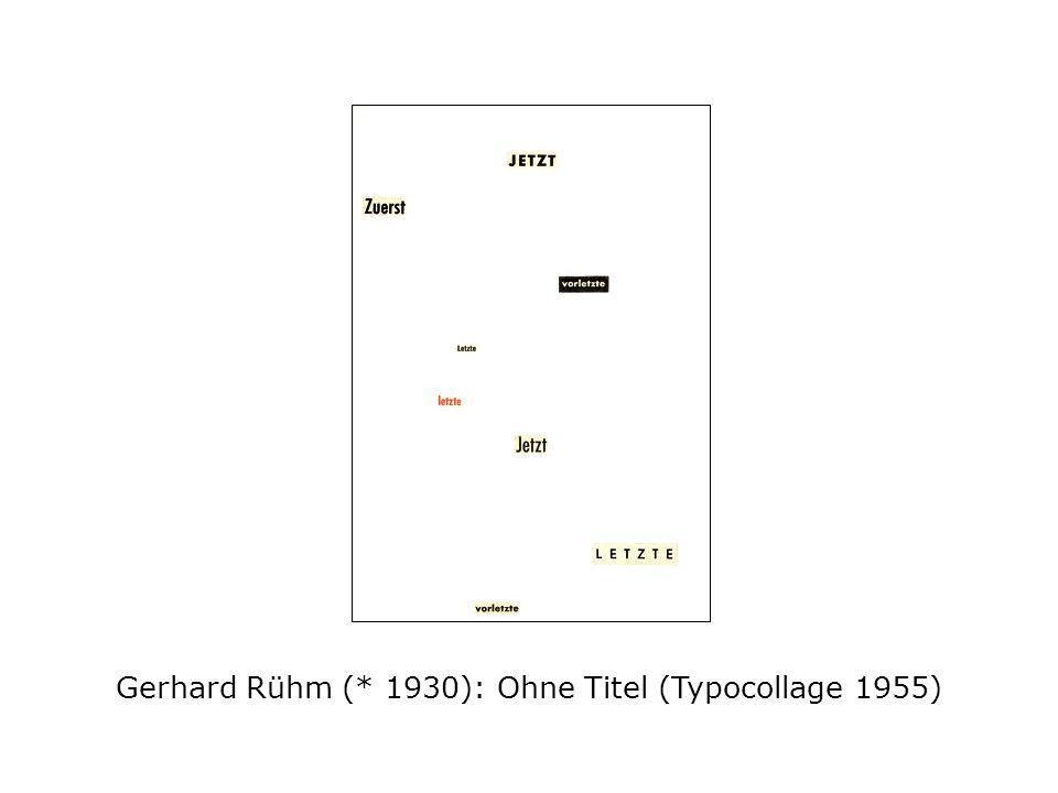 Gerhard Rühm (* 1930): Ohne Titel (Typocollage 1955)