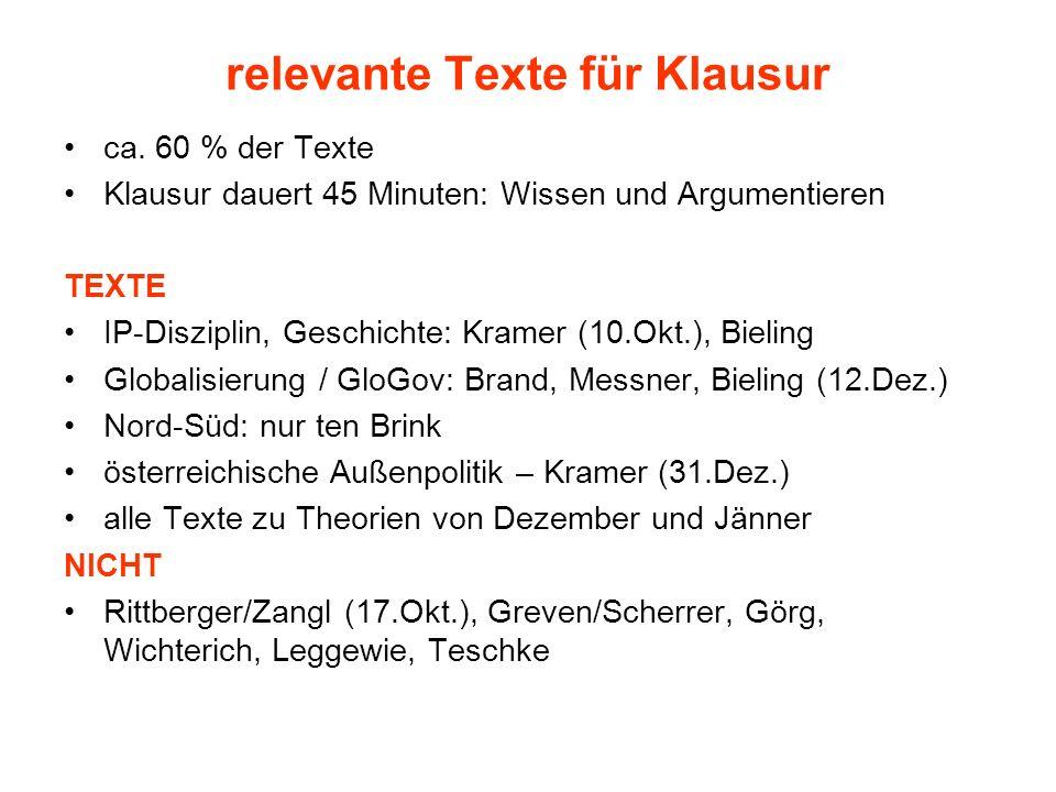 relevante Texte für Klausur ca. 60 % der Texte Klausur dauert 45 Minuten: Wissen und Argumentieren TEXTE IP-Disziplin, Geschichte: Kramer (10.Okt.), B