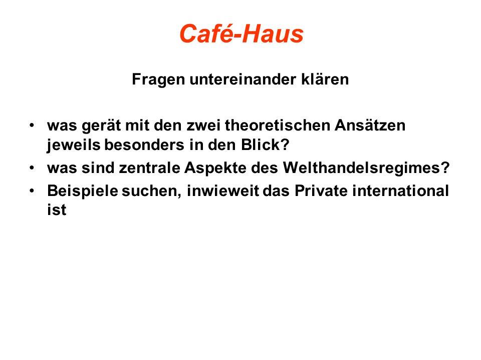 Café-Haus Fragen untereinander klären was gerät mit den zwei theoretischen Ansätzen jeweils besonders in den Blick? was sind zentrale Aspekte des Welt