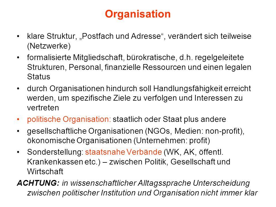 Organisation klare Struktur, Postfach und Adresse, verändert sich teilweise (Netzwerke) formalisierte Mitgliedschaft, bürokratische, d.h. regelgeleite