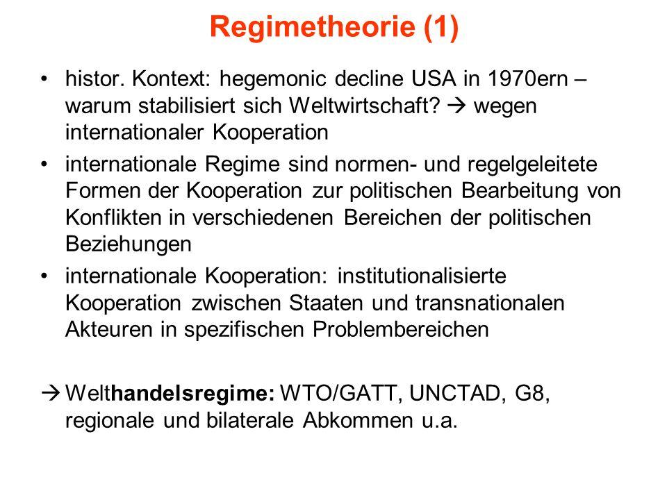 Regimetheorie (1) histor. Kontext: hegemonic decline USA in 1970ern – warum stabilisiert sich Weltwirtschaft? wegen internationaler Kooperation intern