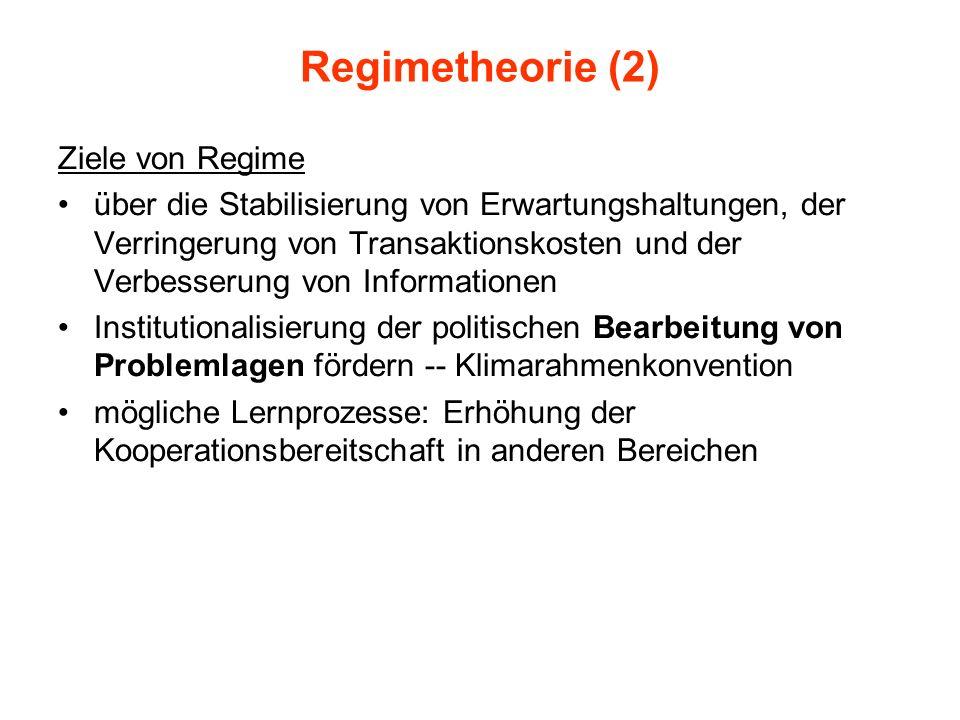 Regimetheorie (2) Ziele von Regime über die Stabilisierung von Erwartungshaltungen, der Verringerung von Transaktionskosten und der Verbesserung von I