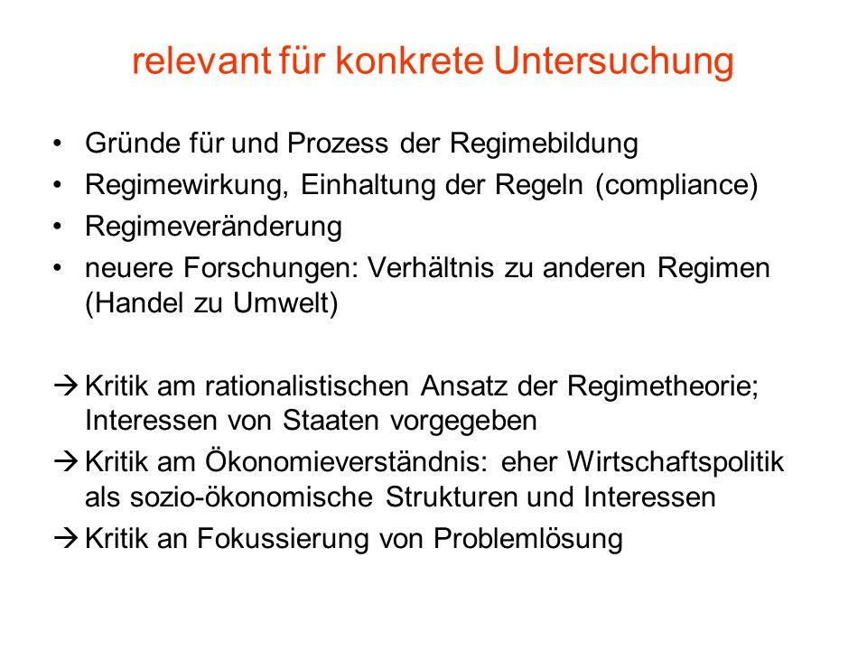 relevant für konkrete Untersuchung Gründe für und Prozess der Regimebildung Regimewirkung, Einhaltung der Regeln (compliance) Regimeveränderung neuere