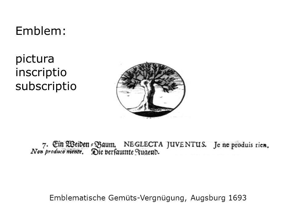Emblematische Gemüts-Vergnügung, Augsburg 1693 Emblem: pictura inscriptio subscriptio