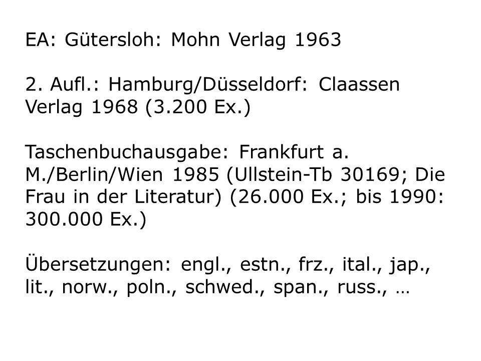 EA: Gütersloh: Mohn Verlag 1963 2. Aufl.: Hamburg/Düsseldorf: Claassen Verlag 1968 (3.200 Ex.) Taschenbuchausgabe: Frankfurt a. M./Berlin/Wien 1985 (U