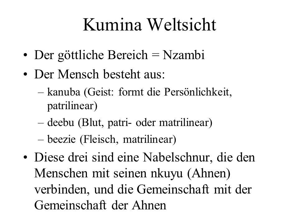 Kumina Weltsicht Der göttliche Bereich = Nzambi Der Mensch besteht aus: –kanuba (Geist: formt die Persönlichkeit, patrilinear) –deebu (Blut, patri- od