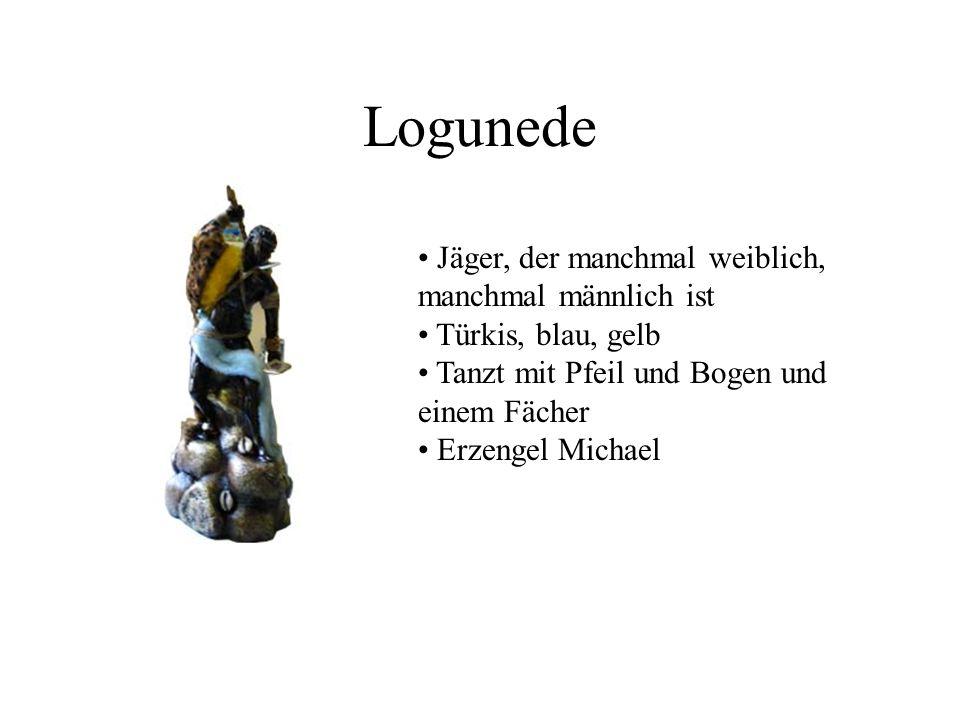 Logunede Jäger, der manchmal weiblich, manchmal männlich ist Türkis, blau, gelb Tanzt mit Pfeil und Bogen und einem Fächer Erzengel Michael