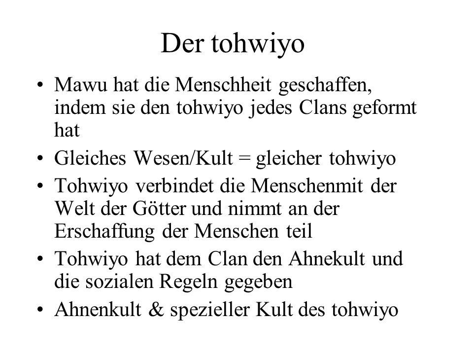 Der tohwiyo Mawu hat die Menschheit geschaffen, indem sie den tohwiyo jedes Clans geformt hat Gleiches Wesen/Kult = gleicher tohwiyo Tohwiyo verbindet
