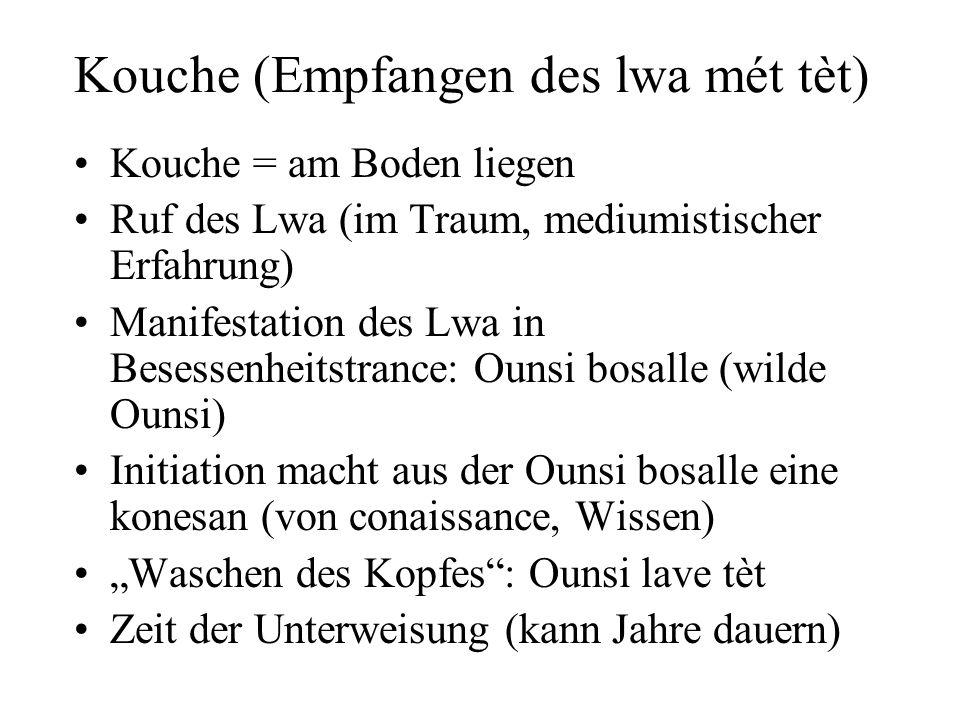 Kouche (Empfangen des lwa mét tèt) Kouche = am Boden liegen Ruf des Lwa (im Traum, mediumistischer Erfahrung) Manifestation des Lwa in Besessenheitstr