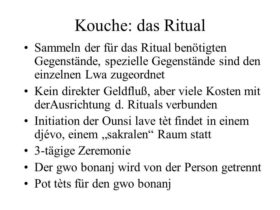 Kouche: das Ritual Sammeln der für das Ritual benötigten Gegenstände, spezielle Gegenstände sind den einzelnen Lwa zugeordnet Kein direkter Geldfluß,
