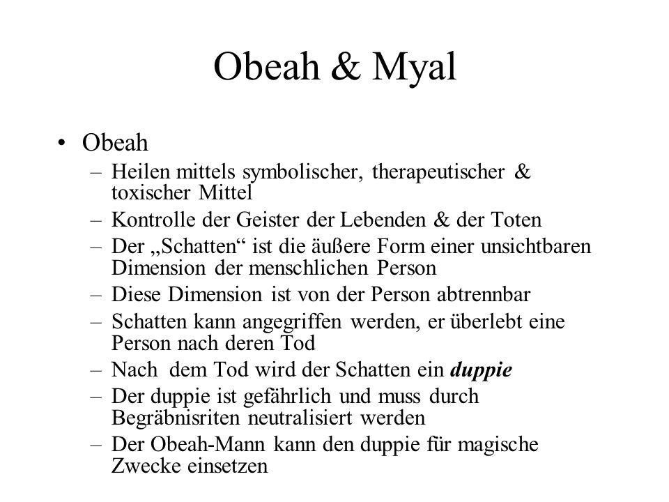 Obeah & Myal Obeah –Heilen mittels symbolischer, therapeutischer & toxischer Mittel –Kontrolle der Geister der Lebenden & der Toten –Der Schatten ist