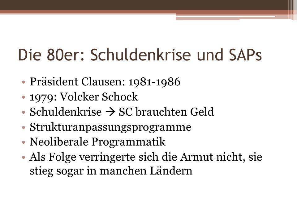 Die 80er: Schuldenkrise und SAPs Präsident Clausen: 1981-1986 1979: Volcker Schock Schuldenkrise SC brauchten Geld Strukturanpassungsprogramme Neolibe