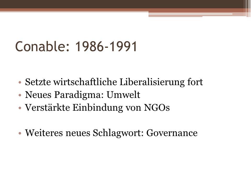 Conable: 1986-1991 Setzte wirtschaftliche Liberalisierung fort Neues Paradigma: Umwelt Verstärkte Einbindung von NGOs Weiteres neues Schlagwort: Gover