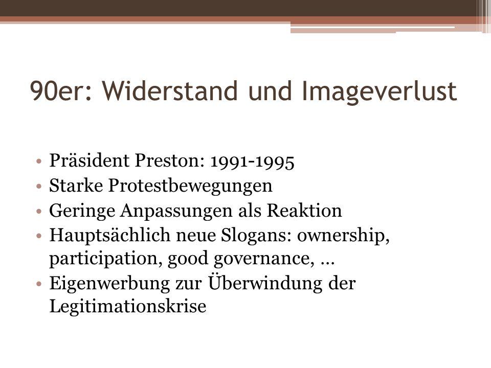 90er: Widerstand und Imageverlust Präsident Preston: 1991-1995 Starke Protestbewegungen Geringe Anpassungen als Reaktion Hauptsächlich neue Slogans: o
