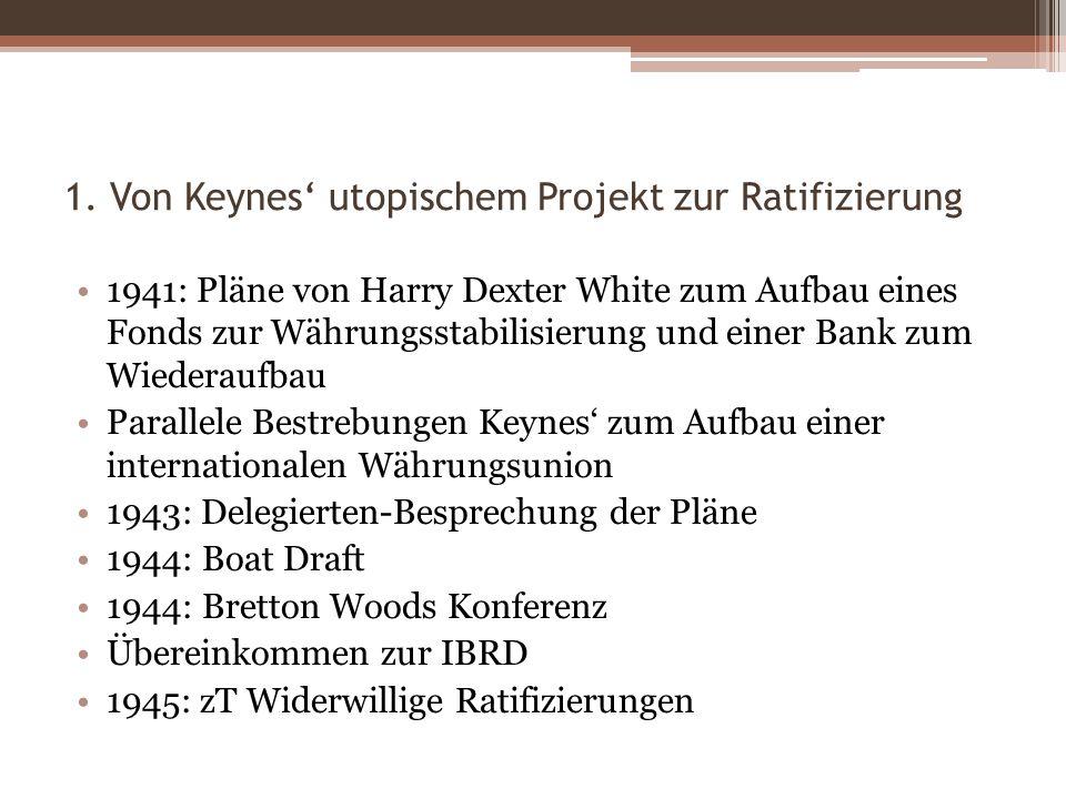 1. Von Keynes utopischem Projekt zur Ratifizierung 1941: Pläne von Harry Dexter White zum Aufbau eines Fonds zur Währungsstabilisierung und einer Bank
