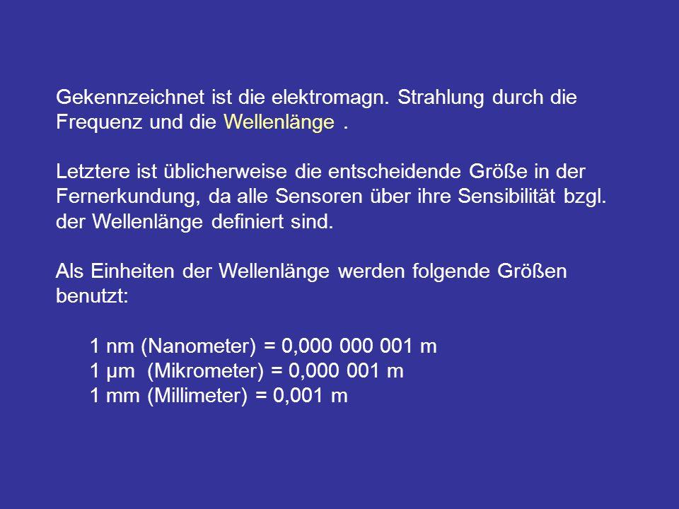 Gekennzeichnet ist die elektromagn. Strahlung durch die Frequenz und die Wellenlänge. Letztere ist üblicherweise die entscheidende Größe in der Ferner