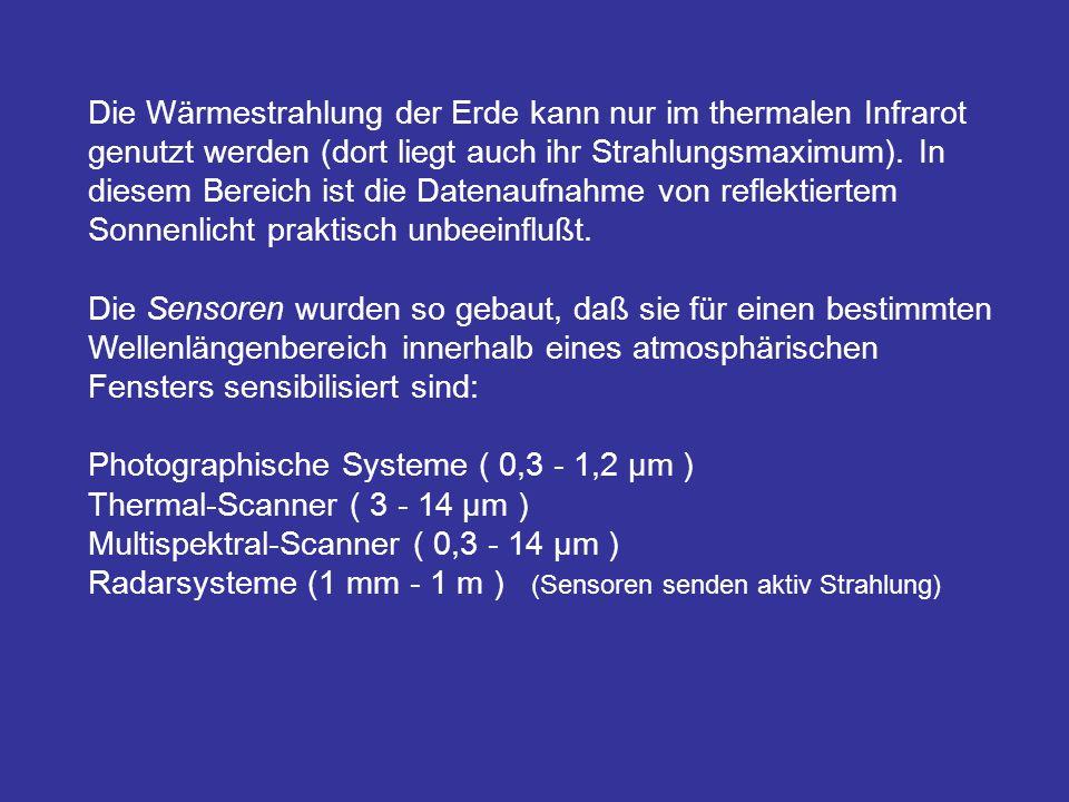Die Wärmestrahlung der Erde kann nur im thermalen Infrarot genutzt werden (dort liegt auch ihr Strahlungsmaximum). In diesem Bereich ist die Datenaufn