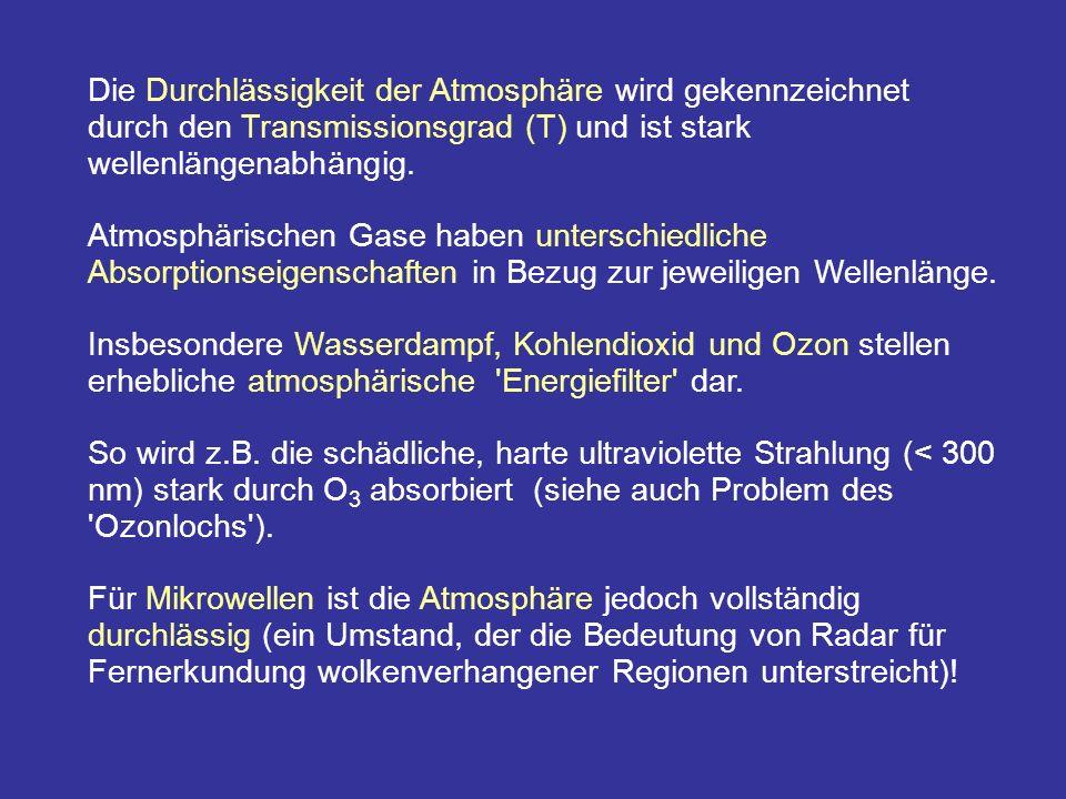 Die Durchlässigkeit der Atmosphäre wird gekennzeichnet durch den Transmissionsgrad (T) und ist stark wellenlängenabhängig. Atmosphärischen Gase haben
