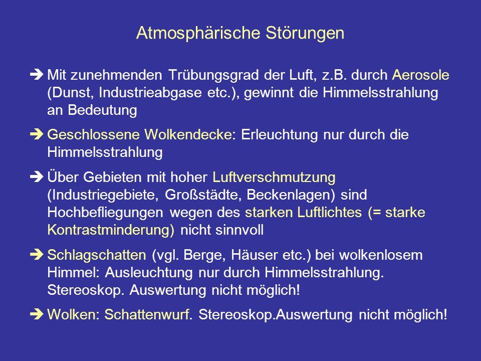 Atmosphärische Störungen Mit zunehmenden Trübungsgrad der Luft, z.B. durch Aerosole (Dunst, Industrieabgase etc.), gewinnt die Himmelsstrahlung an Bed