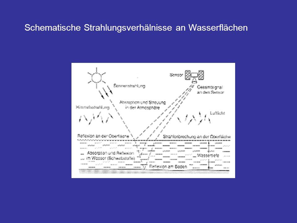 Schematische Strahlungsverhälnisse an Wasserflächen