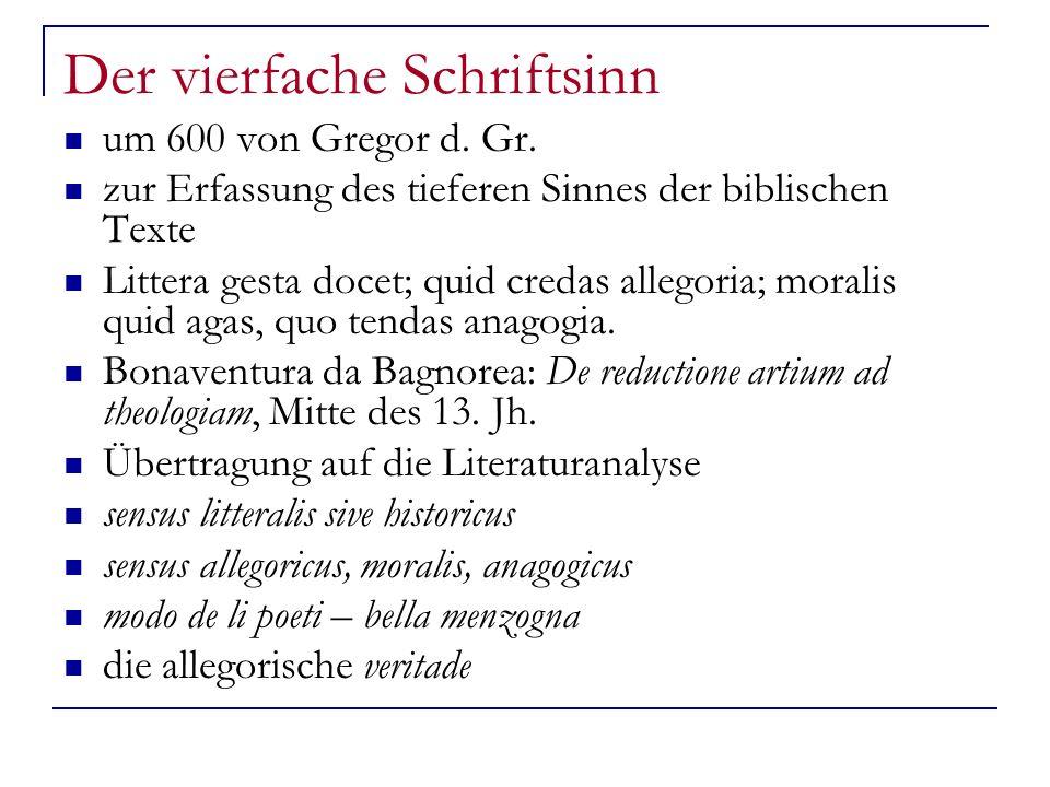 Der vierfache Schriftsinn um 600 von Gregor d.Gr.