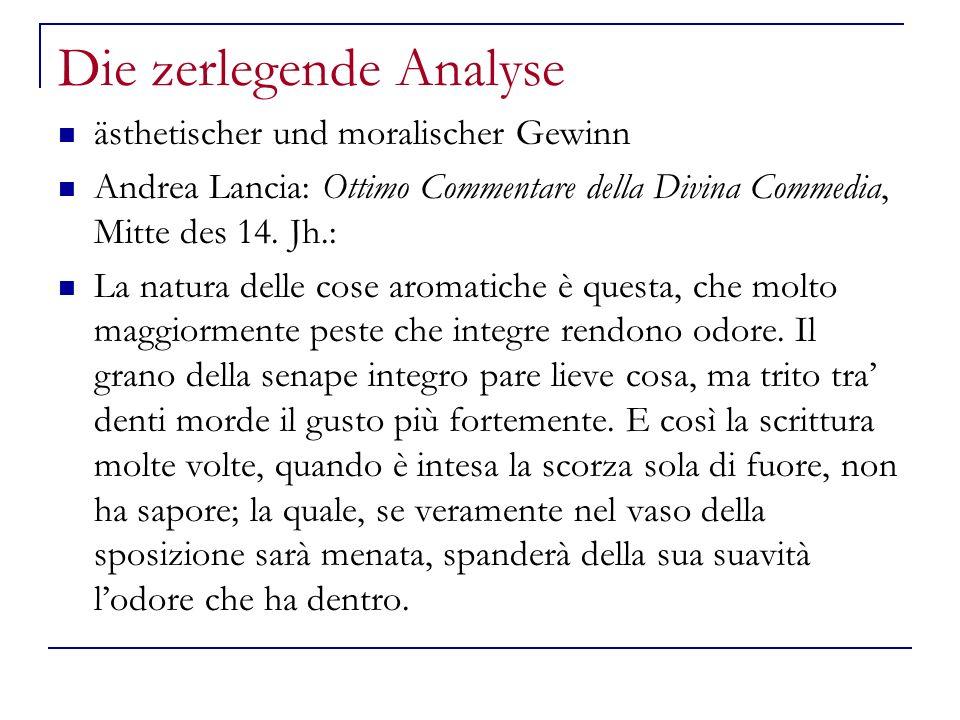 Die zerlegende Analyse ästhetischer und moralischer Gewinn Andrea Lancia: Ottimo Commentare della Divina Commedia, Mitte des 14.