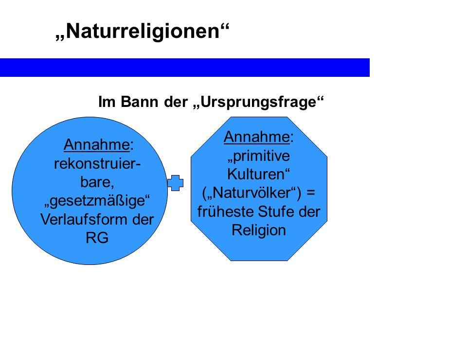 Naturreligionen Annahme: rekonstruier- bare, gesetzmäßige Verlaufsform der RG Im Bann der Ursprungsfrage Annahme: primitive Kulturen (Naturvölker) = f
