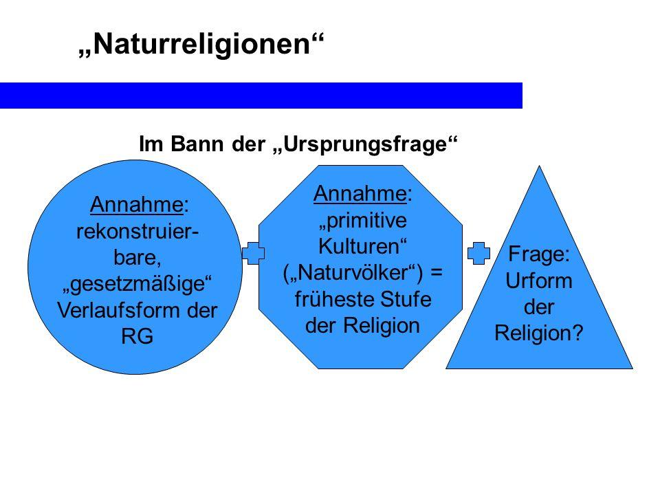Naturreligionen Annahme: rekonstruier- bare, gesetzmäßige Verlaufsform der RG Im Bann der Ursprungsfrage Frage: Urform der Religion? Annahme: primitiv