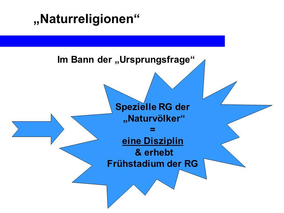 Naturreligionen Im Bann der Ursprungsfrage Spezielle RG der Naturvölker = eine Disziplin & erhebt Frühstadium der RG