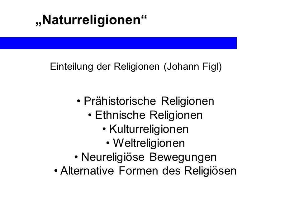 Naturreligionen Prähistorische Religionen Ethnische Religionen Kulturreligionen Weltreligionen Neureligiöse Bewegungen Alternative Formen des Religiös