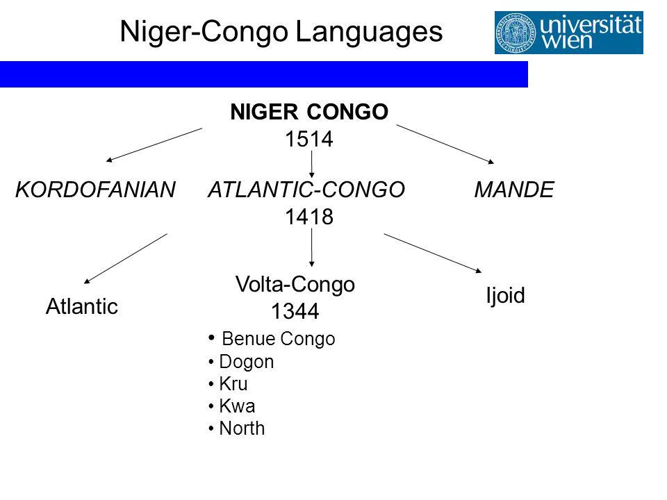 Niger-Congo Languages NIGER CONGO 1514 ATLANTIC-CONGO 1418 KORDOFANIANMANDE Atlantic Ijoid Volta-Congo 1344 Benue Congo Dogon Kru Kwa North