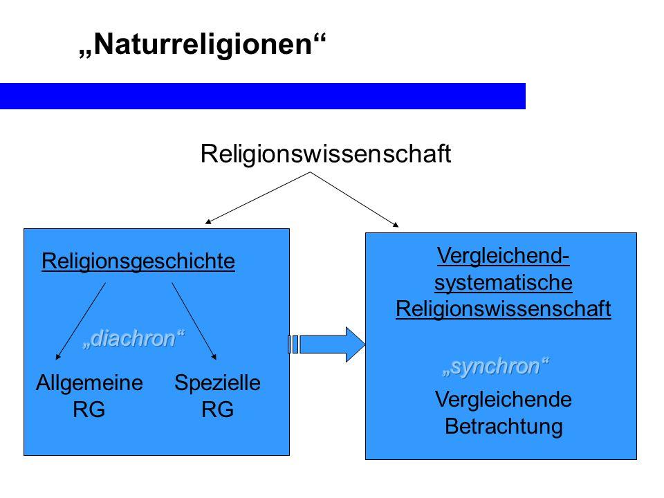 Naturreligionen Religionswissenschaft Religionsgeschichte Vergleichend- systematische Religionswissenschaft Allgemeine RG Spezielle RG Vergleichende B