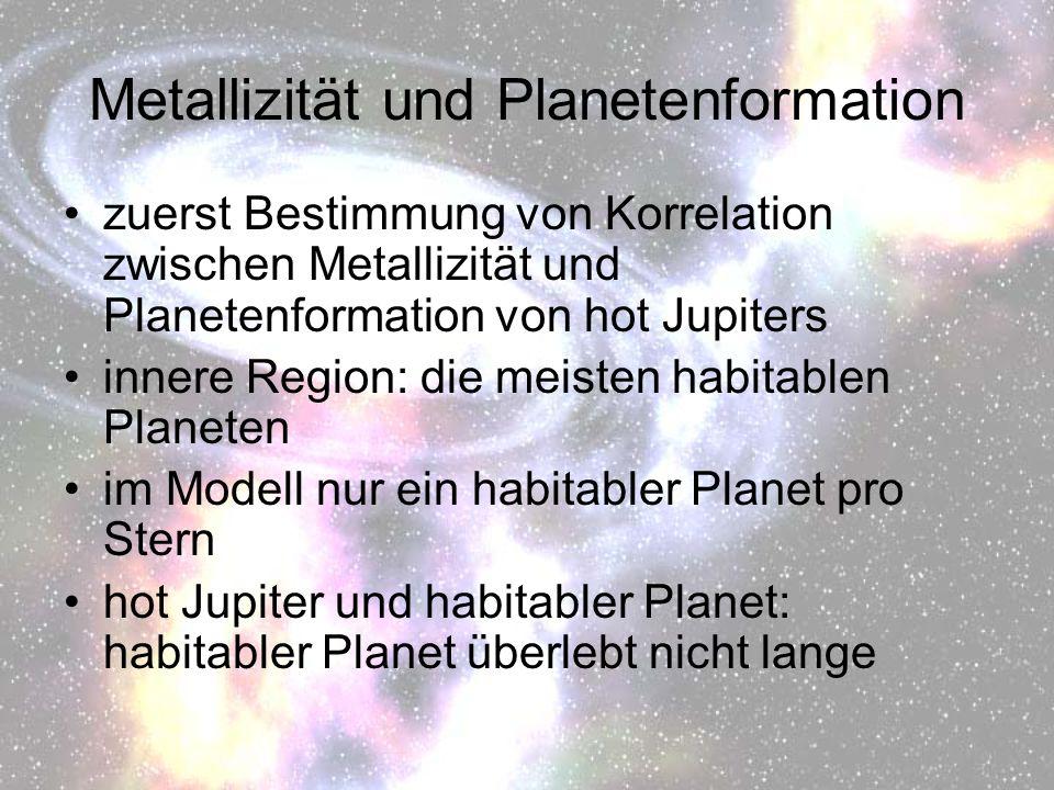 Metallizität und Planetenformation zuerst Bestimmung von Korrelation zwischen Metallizität und Planetenformation von hot Jupiters innere Region: die m