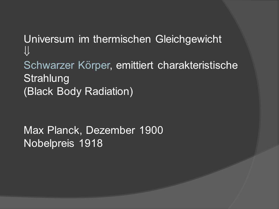 Universum im thermischen Gleichgewicht Schwarzer Körper, emittiert charakteristische Strahlung (Black Body Radiation) Max Planck, Dezember 1900 Nobelpreis 1918