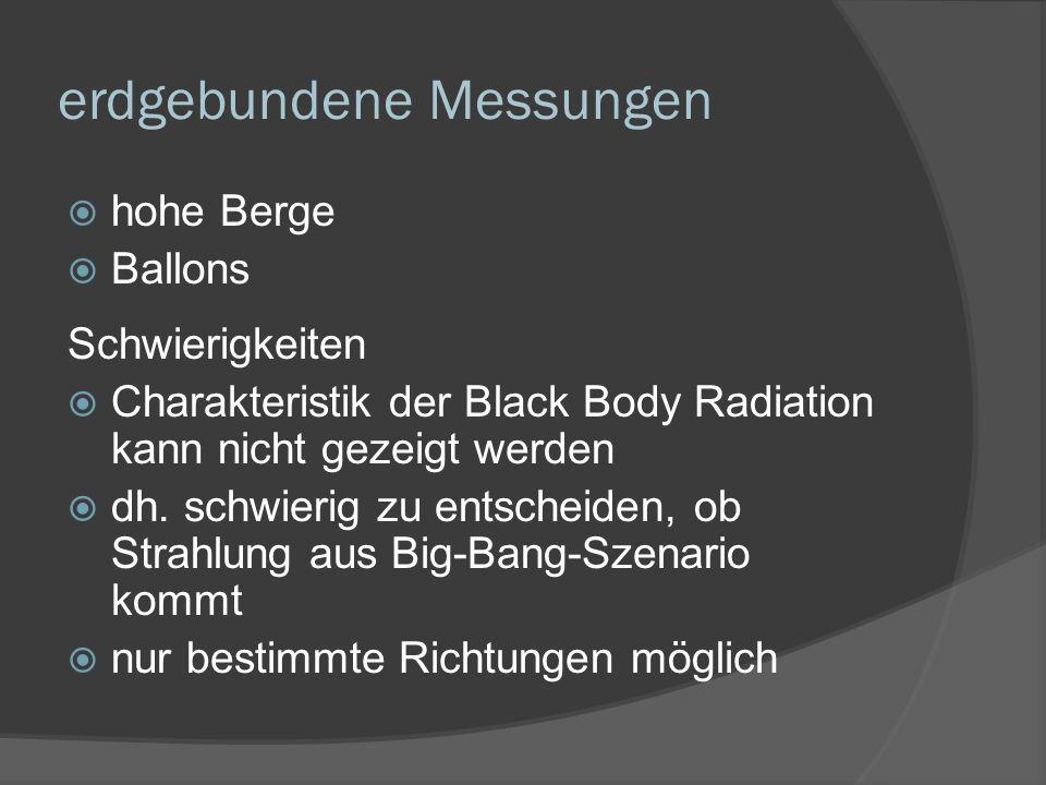 erdgebundene Messungen hohe Berge Ballons Schwierigkeiten Charakteristik der Black Body Radiation kann nicht gezeigt werden dh. schwierig zu entscheid