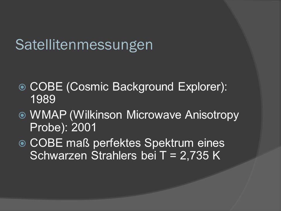 Satellitenmessungen COBE (Cosmic Background Explorer): 1989 WMAP (Wilkinson Microwave Anisotropy Probe): 2001 COBE maß perfektes Spektrum eines Schwarzen Strahlers bei T = 2,735 K