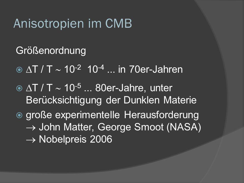 Anisotropien im CMB Größenordnung T / T 10 -2 10 -4... in 70er-Jahren T / T 10 -5... 80er-Jahre, unter Berücksichtigung der Dunklen Materie große expe